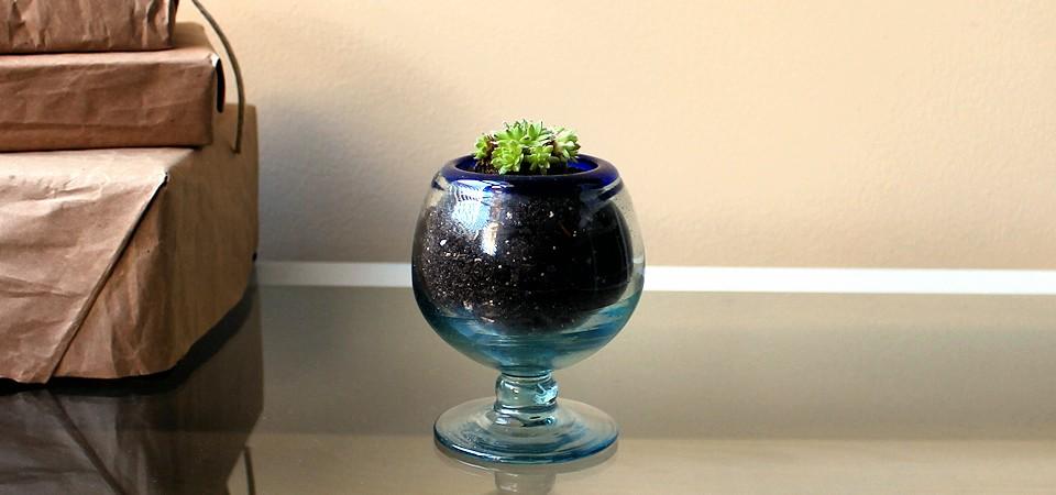 Vintage Blue Goblet